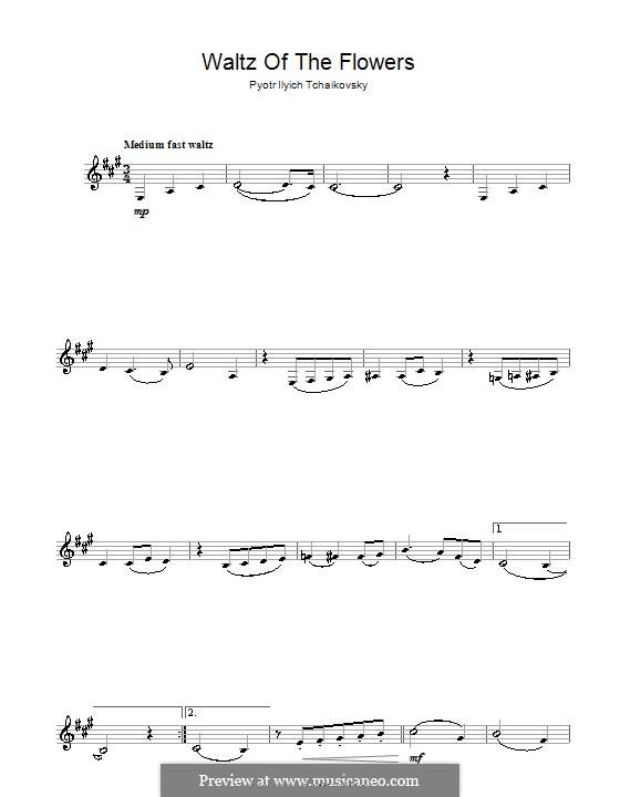 No.8 Waltz of the Flowers: For clarinet by Pyotr Tchaikovsky