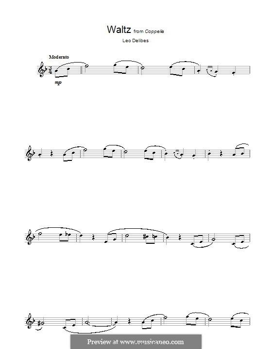 Coppélia, ou La fille aux yeux d'émail: Waltz, for alto saxophone by Léo Delibes