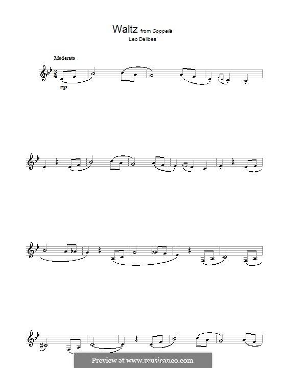 Coppélia, ou La fille aux yeux d'émail: Waltz, for clarinet by Léo Delibes