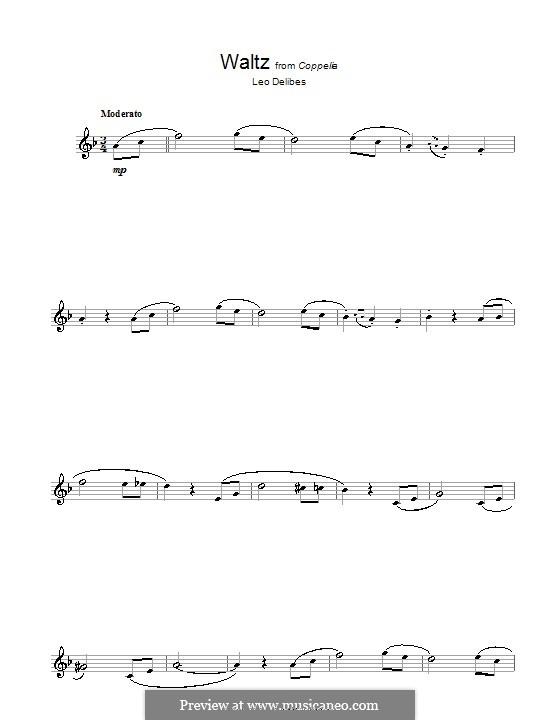 Coppélia, ou La fille aux yeux d'émail: Waltz, for flute by Léo Delibes