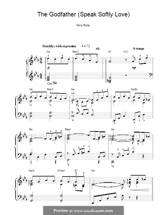 The Godfather (Love Theme): For easy piano by Nino Rota