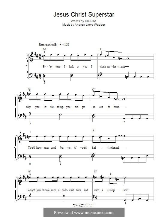 Superstar: For easy piano (D Major) by Andrew Lloyd Webber