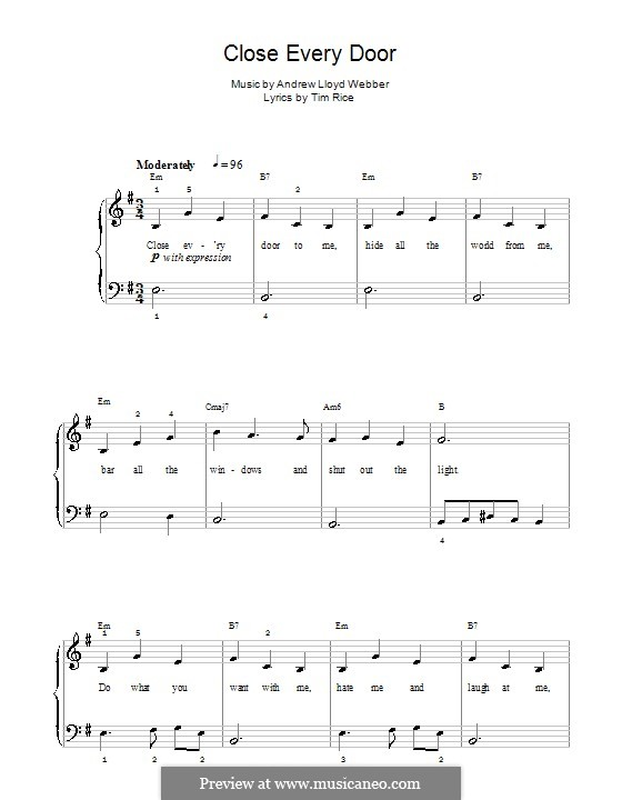 Close Every Door: For easy piano (with chords) by Andrew Lloyd Webber