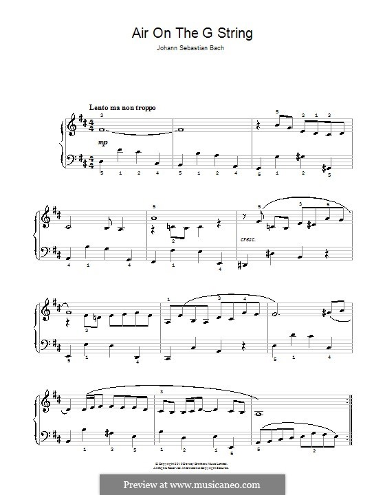Aria (Printable Scores): Version for easy piano by Johann Sebastian Bach