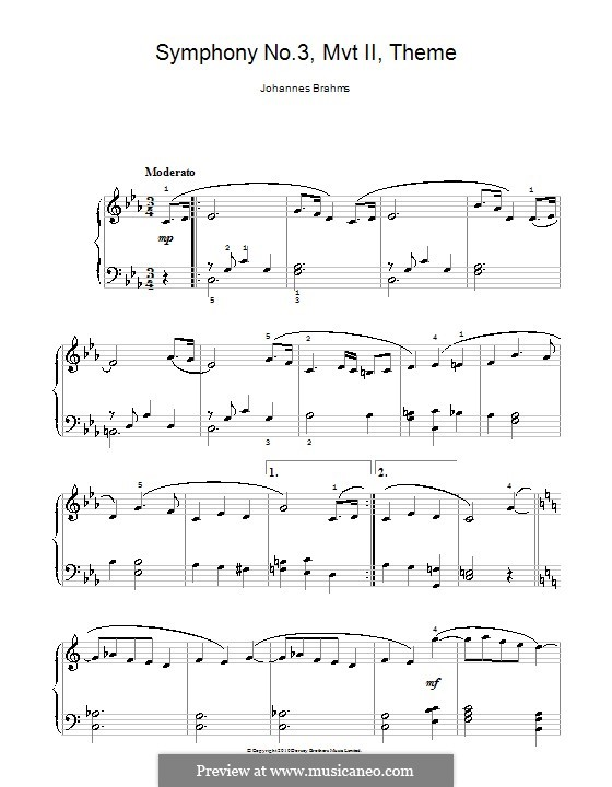 Movement II: Theme. Version for easy piano by Johannes Brahms