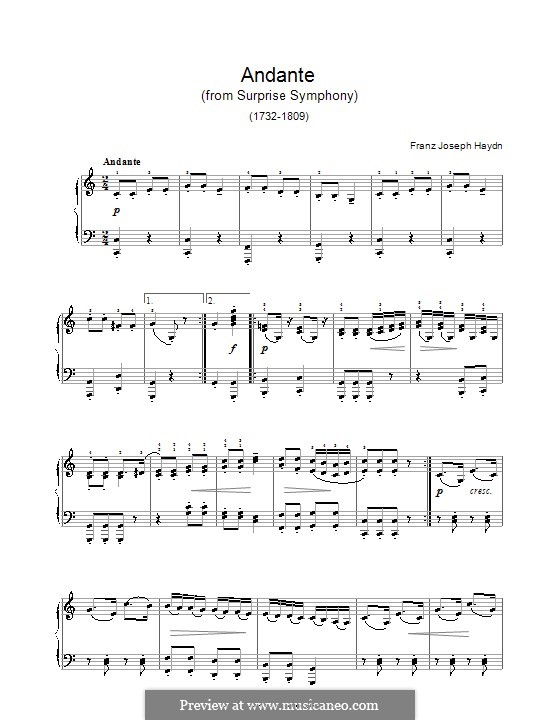 Movement II: Theme, for piano by Joseph Haydn