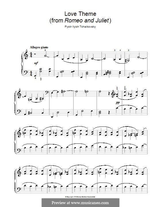Love Theme: Arrangement for easy piano by Pyotr Tchaikovsky
