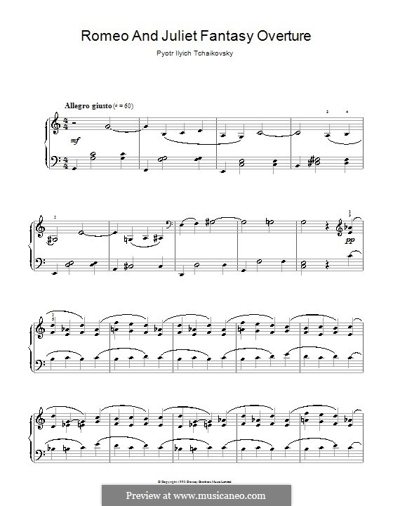 Love Theme: Arrangement for piano (high quality sheet music) by Pyotr Tchaikovsky