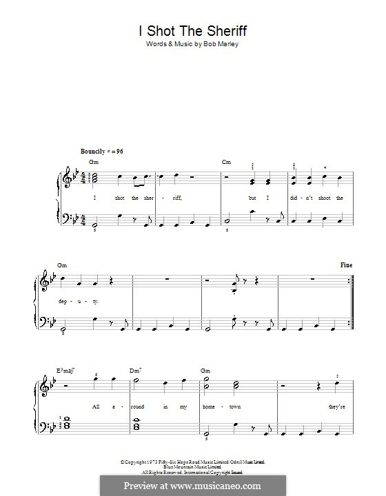 I Shot the Sheriff: For easy piano by Bob Marley