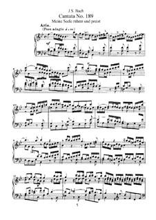 Meine Seele rühmt und preist, BWV 189: Piano-vocal score by Johann Sebastian Bach