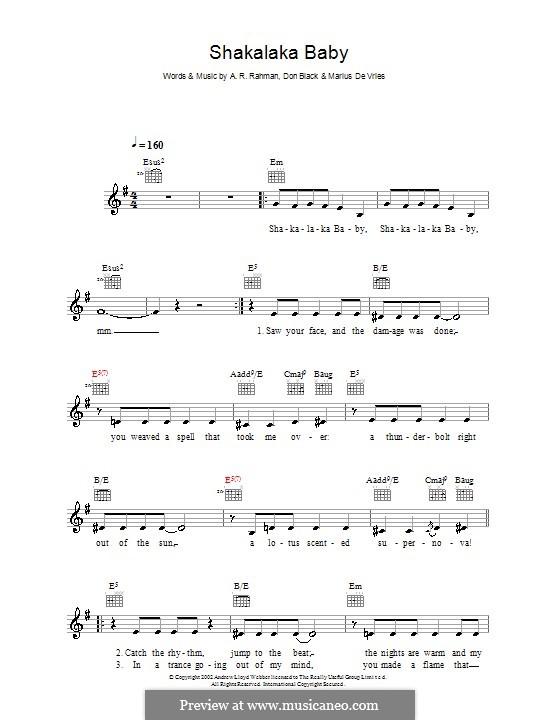Shakalaka Baby (from Bombay Dreams): Melody line, lyrics and chords by A.R. Rahman, Don Black, Marius De Vries