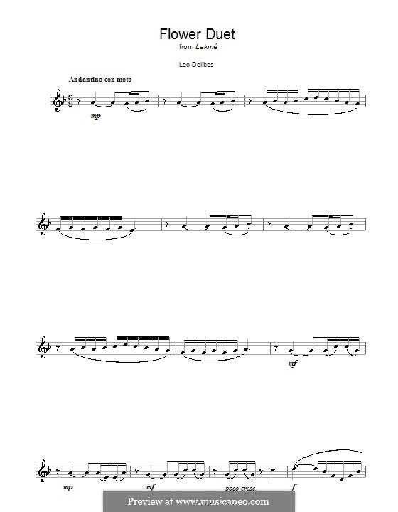 The Flower Duet: For clarinet by Léo Delibes