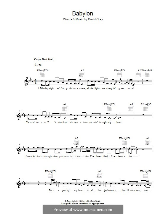 Babylon By D Gray Sheet Music On Musicaneo