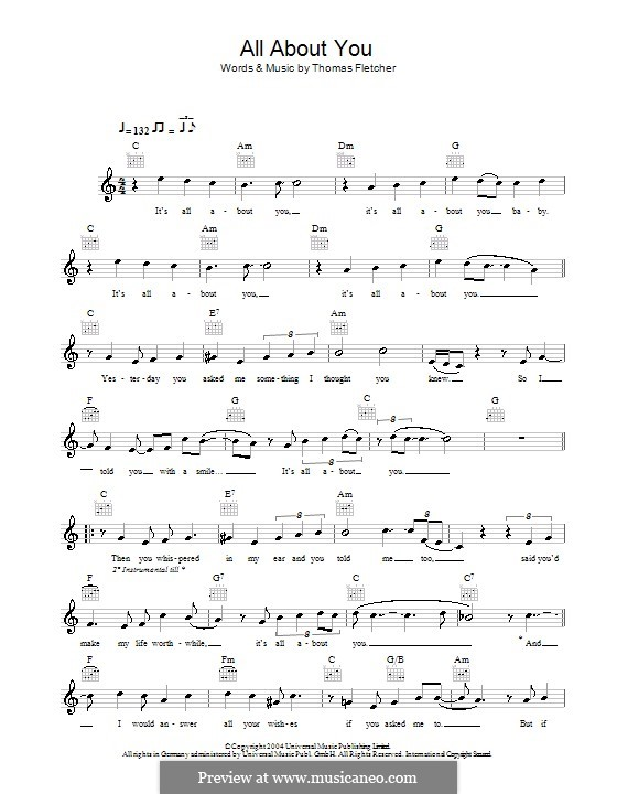 All About You Mcfly By T Fletcher Sheet Music On Musicaneo