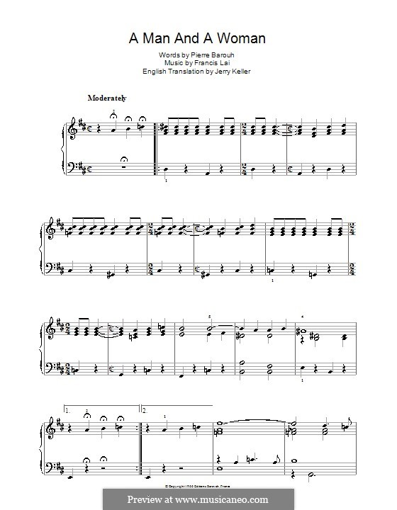 A Man and a Woman (Un Homme Et Une Femme): For piano by Francis Lai