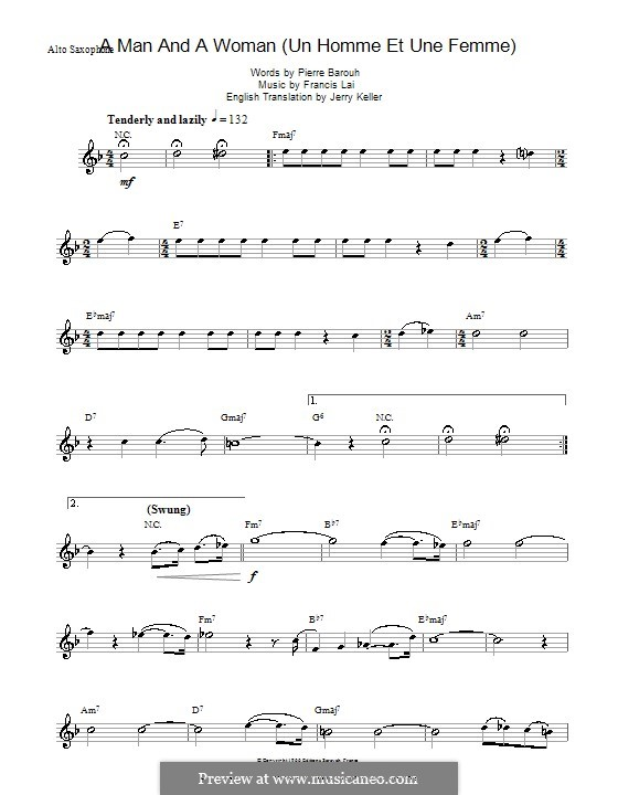 A Man and a Woman (Un Homme Et Une Femme): For alto saxophone by Francis Lai