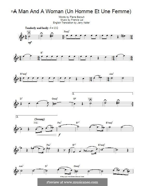 A Man and a Woman (Un Homme Et Une Femme): For flute by Francis Lai
