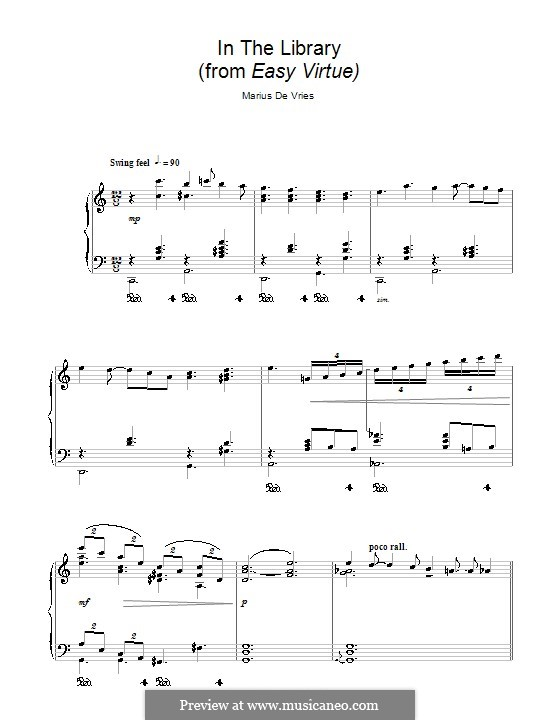 In the Library (from Easy Virtue): For piano by Marius De Vries
