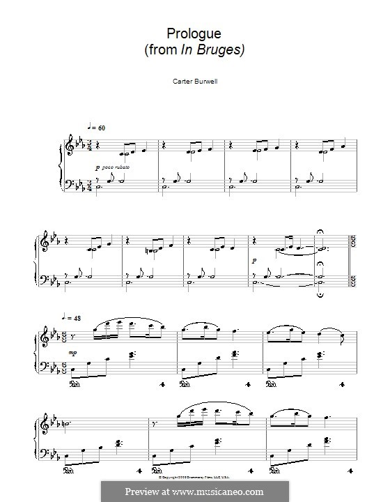 Prologue (from In Bruges): For piano by Carter Burwell