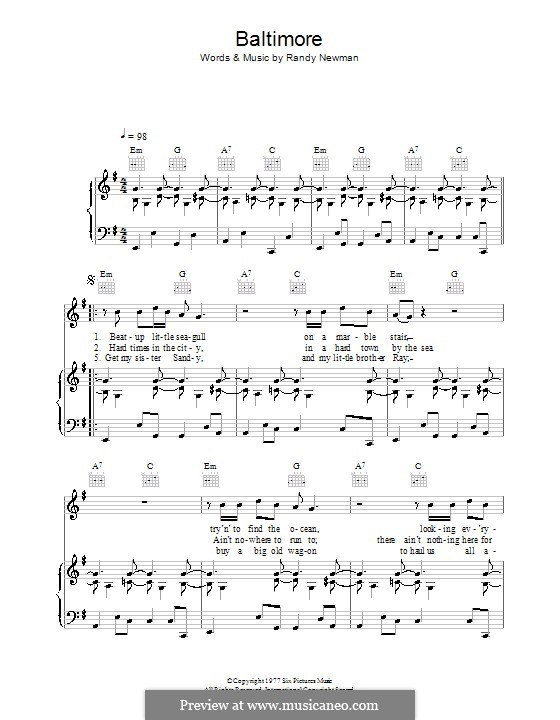 Baltimore: For voice and piano (or guitar) by Randy Newman