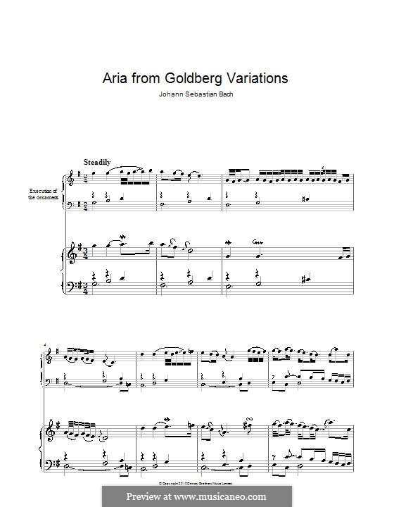 Goldberg Variations, BWV 988: Aria, for piano by Johann Sebastian Bach