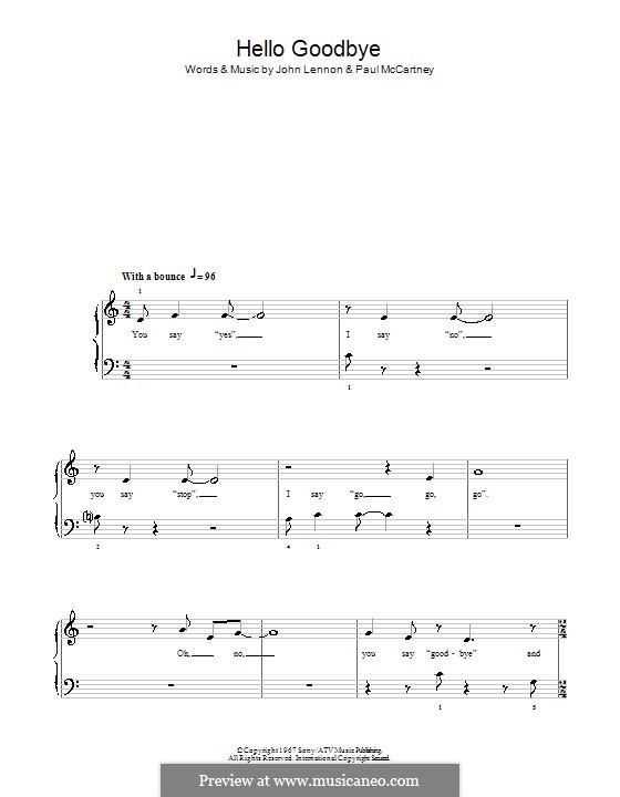 Hello, Goodbye (The Beatles): For easy piano (Glee Cast) by John Lennon, Paul McCartney