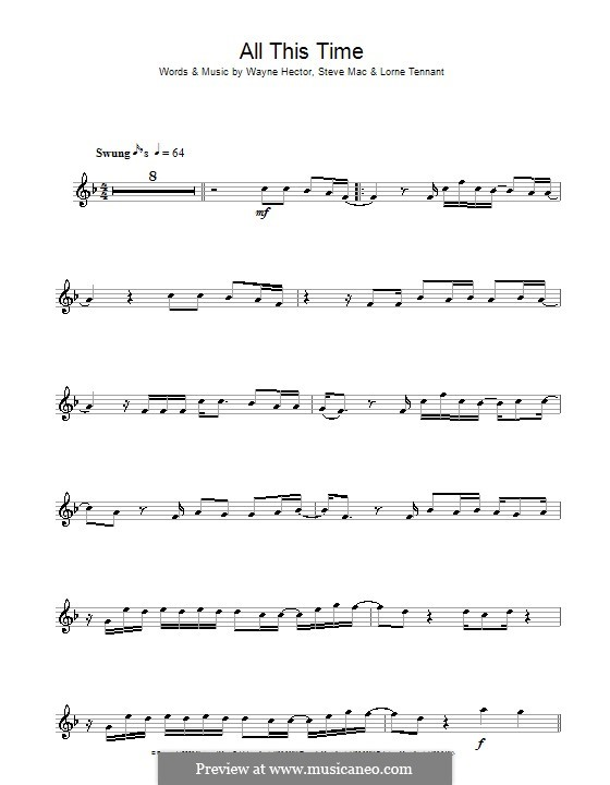 All This Time (Michelle McManus): For flute by Lorne Tennant, Steve Mac, Wayne Anthony Hector