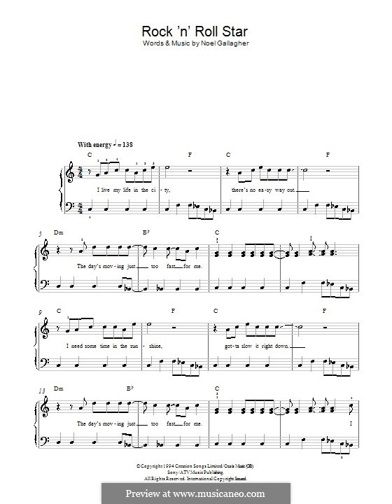 Rock N Roll Star Oasis By N Gallagher Sheet Music On Musicaneo