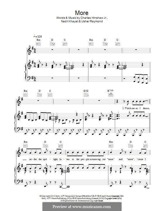 More (Usher): For voice and piano (or guitar) by RedOne, Bilal Hajji, Charles Hinshaw, Usher Raymond