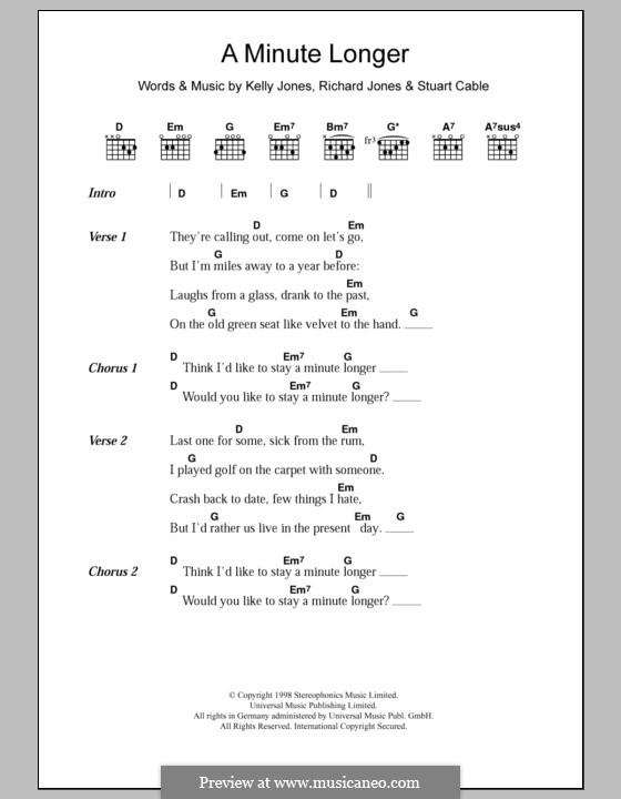 A Minute Longer (Stereophonics): Lyrics and chords by Kelly Jones, Richard Jones, Stuart Cable