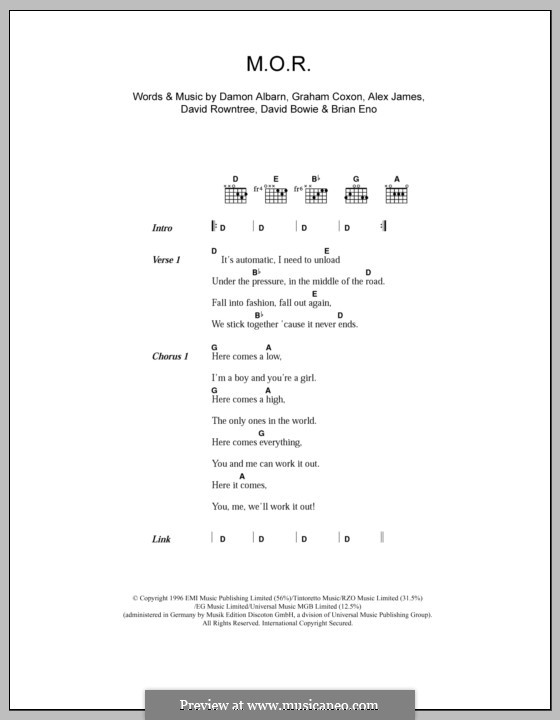 M.O.R. (Blur): Lyrics and chords by Alex James, Brian Eno, Damon Albarn, David Bowie, David Rowntree, Graham Coxon