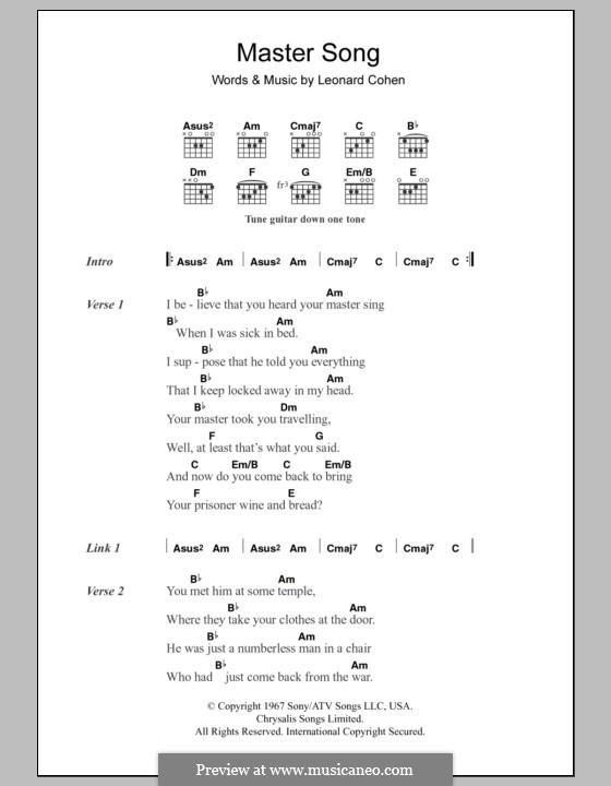 master song cohen sheet musicaneo