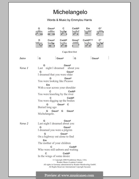 Michelangelo: Lyrics and chords by Emmylou Harris