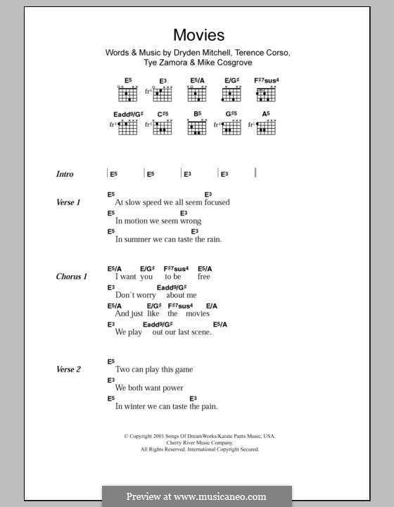 Movies (Alien Ant Farm): Lyrics and chords by Dryden Mitchell, Mike Cosgrove, Terence Corso, Tye Zamora