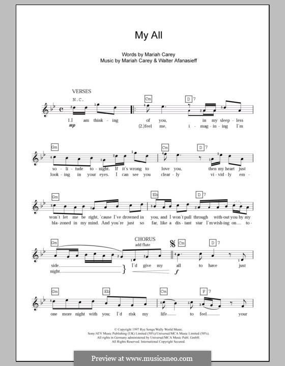 My All: For keyboard by Mariah Carey, Walter Afanasieff