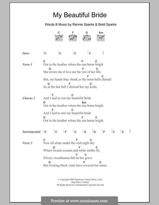 My Beautiful Bride (The Handsome Family): Lyrics and chords by Brett Sparks, Rennie Sparks