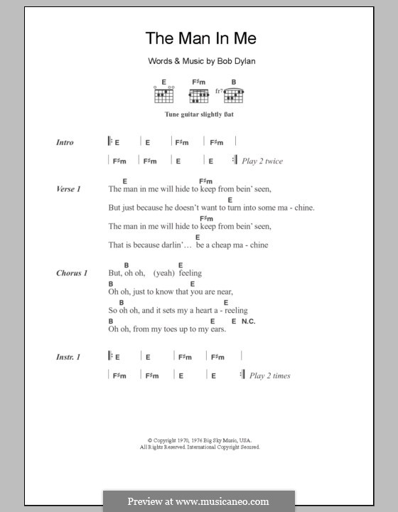 The Man in Me: Lyrics and chords by Bob Dylan