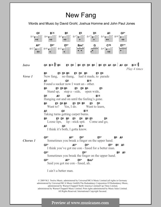 New Fang (Them Crooked Vultures): Lyrics and chords by John Paul Jones, David Grohl, Joshua Homme