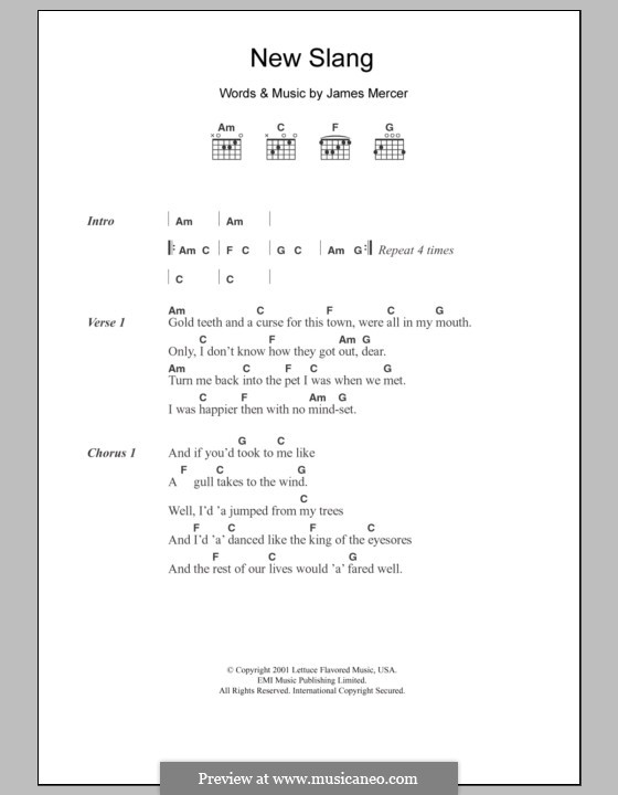 New Slang (The Shins): Lyrics and chords by James Mercer