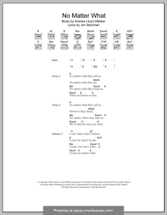 No Matter What (from Whistle Down the Wind): Lyrics and chords by Andrew Lloyd Webber