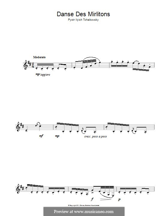 No.7 Dance of the Mirlitons: For clarinet by Pyotr Tchaikovsky