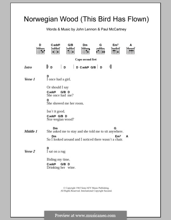 Norwegian Wood (This Bird Has Flown): Lyrics and chords by John Lennon, Paul McCartney