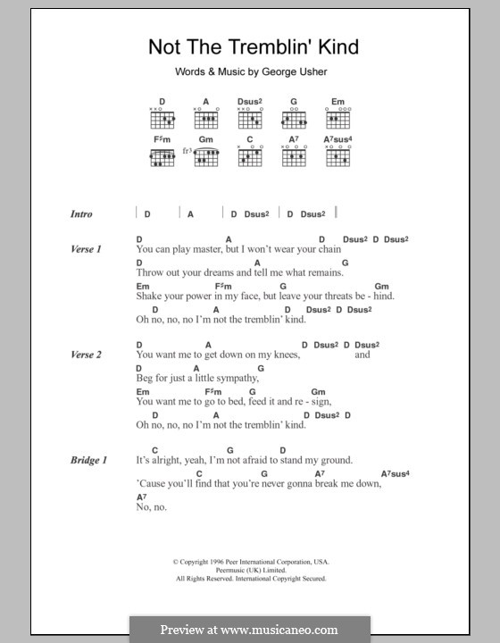Not the Tremblin' Kind: Lyrics and chords by George Usher