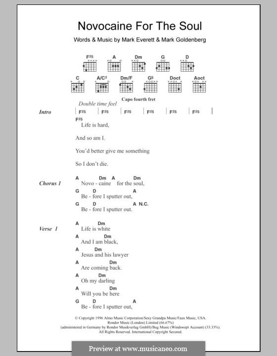 Novocaine for the Soul (Eels): Lyrics and chords by Mark Everett, Mark Goldenberg