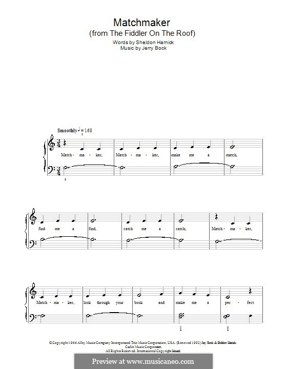 Matchmaker (from The Fiddler on the Roof): For easy piano by Jerry Bock