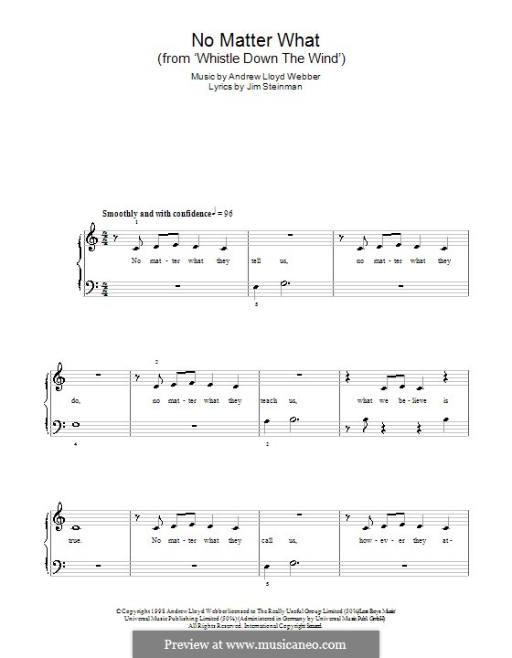 No Matter What (from Whistle Down the Wind): For easy piano by Andrew Lloyd Webber