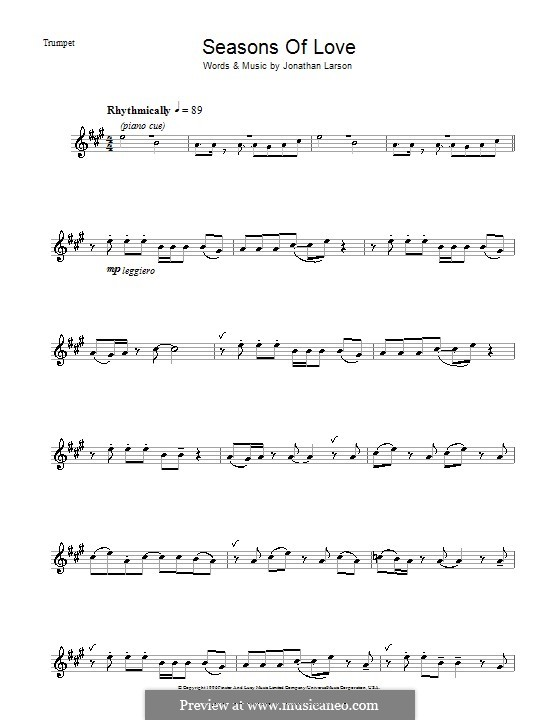 Seasons of Love (from Rent): For trumpet by Jonathan Larson