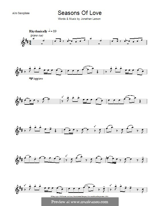 Seasons of Love (from Rent): For alto saxophone by Jonathan Larson