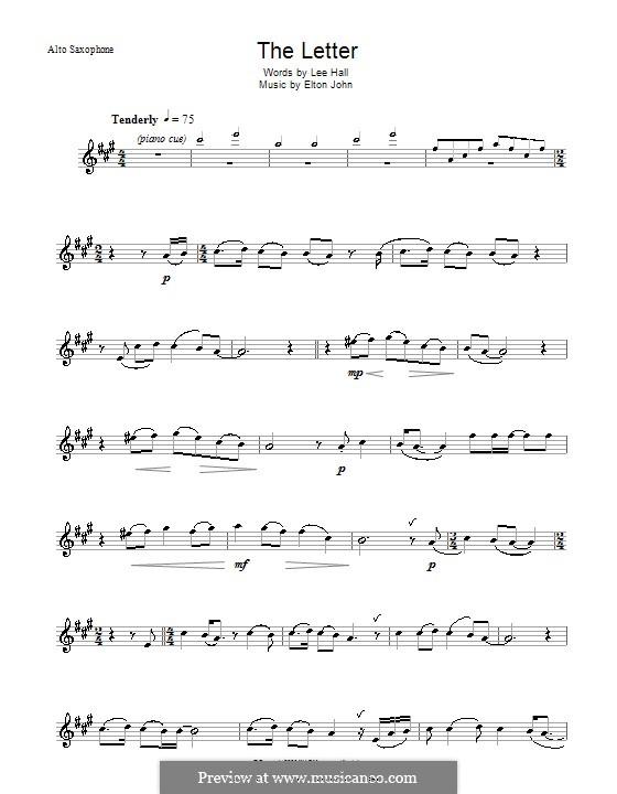 The Letter: For alto saxophone by Elton John