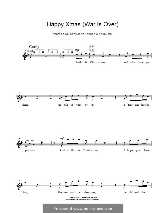 Happy Xmas (War Is Over): For flute by John Lennon, Yoko Ono